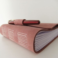 Dusky Pink suede leather journal by peonyandthistle