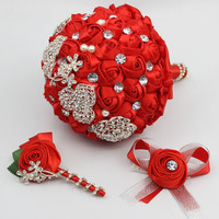 Handmade High Quality Wedding Bouquet Best Man Boutonniere Bridal Wrist Flower SET Silk Flowers in Red Color