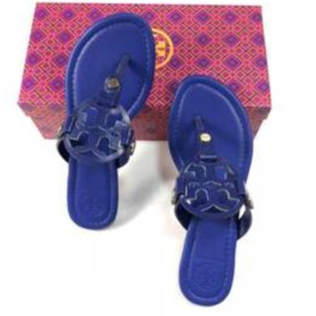 Tory burch new fashion women metal slippers sandals shoes Leopard grain Blue