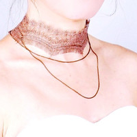 brown lace chain charm choker necklace - Victorian steampunk boho chic - jewelry gift for her