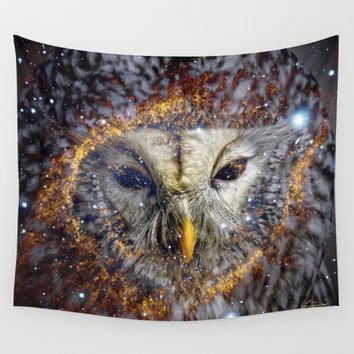 Mystic Owl Wall Tapestry by lostanaw