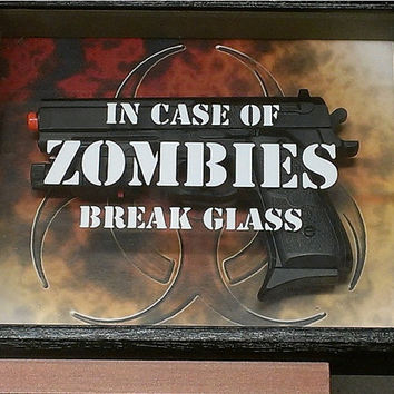 In Case of Zombies Break Glass Shadow Box Free by TXMCollectibles