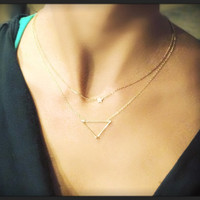 Dainty Hipster Triangle Necklace - 14k Gold, Sterling Silver, or 14k Rose-Gold