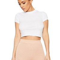 My Cup Of Ribbed T Crop - Tops - Womens