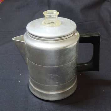 Vintage 1950s--1960s Aluminum 4-Cup Coffee Pot or Percolator with All Parts