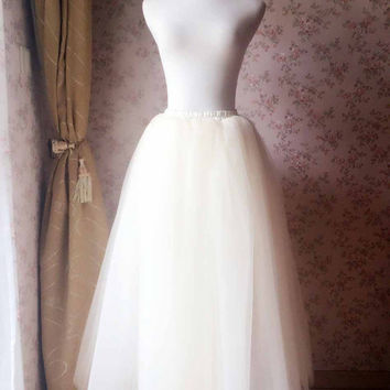 0d272f88b93 Adult Tulle Skirt Womens Tulle Skirt ivory White Long Tulle Skir