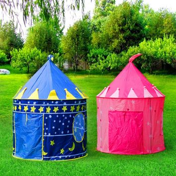 Portable Blue/Pink Foldable Tipi camping Toy Tents