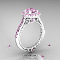 Caravaggio 14K Ceramic White Gold 1.0 Ct Light Pink Sapphire Engagement Ring, Wedding Ring R621-14KCWGPS
