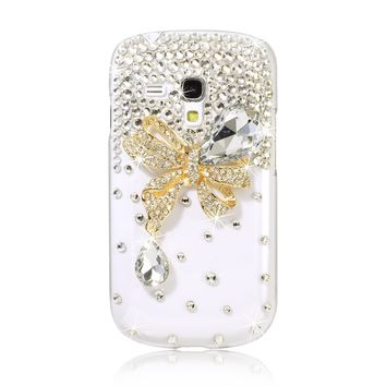 3D Bling Rhinestone Crystal Butterfly Case Cover For Samsung Galaxy S3 i8190 S3 Mini PC400