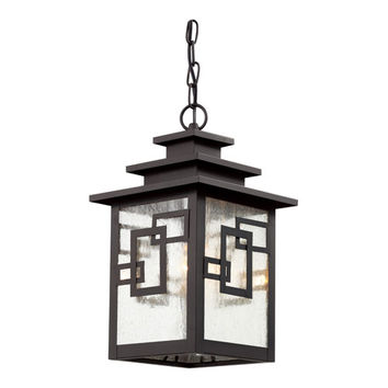 Trans Globe Lighting 40184 WB Weathered Bronze Geo Tempo 16-Inch Outdoor Pendant with Clear Seeded, Square, Geometric Glass