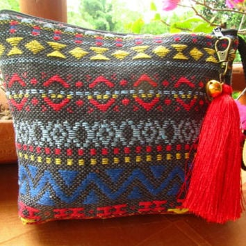 Mini Clutch Bag Makeup Case Pencil Case Pouch Wallet Tassel Charm Boho Hippie | eBay
