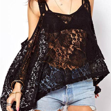 Black Floral Sheer Lace Off Shoulder Cape Blouse