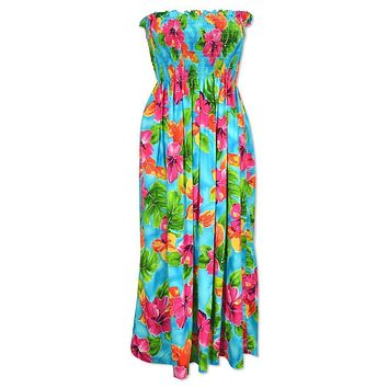 hoopla blue hawaiian maxi dress