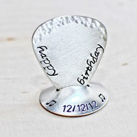 Happy birthday sterling silver guitar pick and stand with hammered edge