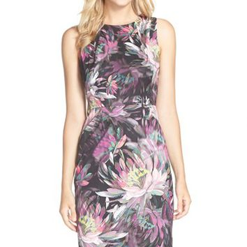 Women's Trina Turk 'Kurdson' Floral Print Faille Sheath Dress,
