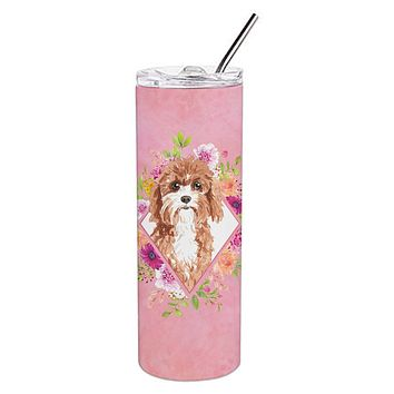 Cavapoo Pink Flowers Double Walled Stainless Steel 20 oz Skinny Tumbler CK4247TBL20