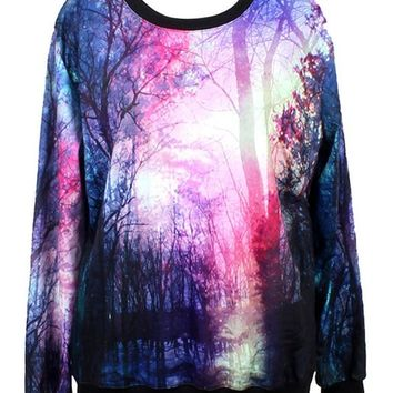Pandolah Neon Galaxy Cosmic Colorful Patterns Print Sweatshirt Sweaters (Free size, Dawn)