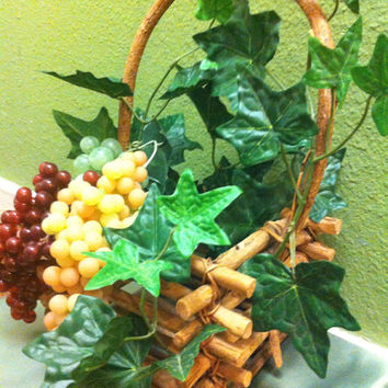 Handmade Artificial Floral Arrangement: Wicker Basket of Grapes Plus Floral