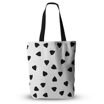 "Suzanne Carter ""Hearts Black"" White Everything Tote Bag"