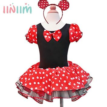 Girls Costume Cosplay Clothes Summer Formal Fun White Dot Red Dress Mini Ballet Tutu Dress+Ear Kids Children's Party Dance Dress