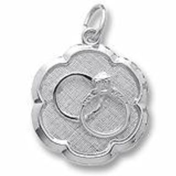 Wedding Rings Disc Charm In Sterling Silver
