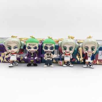 Suicide Squad 5pcs/set Joker 1/16 Scale Painted  Harley Quinn Key Chains Doll PVC Action Figure Collectible Model Toy KT3347