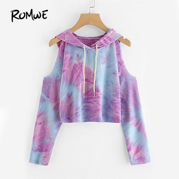 ROMWE Tie Dye Open Shoulder Crop Hoodie with Light Purple and Blue Fades