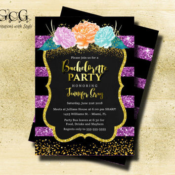 Bachelorette Party Invitation Purple and Black Stripe Glitter Invitation Floral Invitation Peony Invite Hens Party Bridal Shower invite