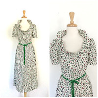 Vintage Swing Dress - ruffle dress - summer dress - cotton sundress - floral - S M