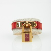 Hermes Red & Gold Lizard Kelly Lock Watch