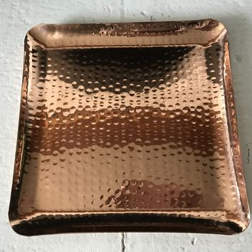 """Copper Hammered Square Serving Tray 10X10"""" Hotel Home Decor Bar Tray Elegant New"""