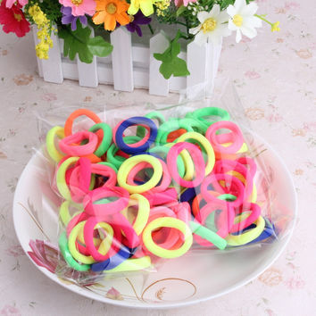 2016 New 1 Pack=90 Pcs Women Colorful Elastics Hair Band Pets Headband Girls Hair Accessories Children Candy Lovely Scrunchy