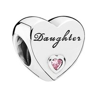 Women's PANDORA 'Daughter's Love' Charm - Silver/ Pink