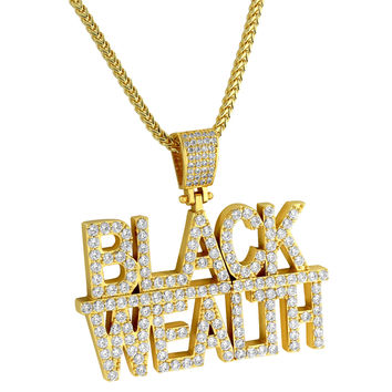 Designer Men's Black Wealth Fully Iced out 14k Yellow Gold Finish Custom Hip Hop Pendant Chain