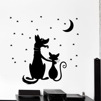 Vinyl Wall Decal Friends Cat And Dog Night Stars Romantic Home Decor Unique Gift z4499
