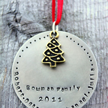 HUGE sale Personalized Family Ornament - Personalized Ornament - Family Ornament - Christmas Ornament - Family Name - Handstamped - Holiday