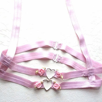 Kawaii under bust harness / pastel goth / caged bra / fetish lingerie