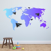 MADE IN THE USA - Wall Decals World Map Colored Multicolored Vinyl Stickers Map Colorful Decal For Bedroom Office Decor Plane Sticker DD117