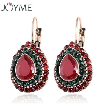 New Fashion Women Water Drop Crystal Rhinestones Vintage Drop Earrings Best Friends Gift Hanging Earrings Dress Accessories