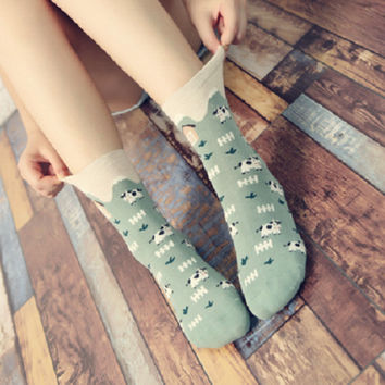 New autumn and winter women socks cute animal socks striped cows cotton Socks dd-1042
