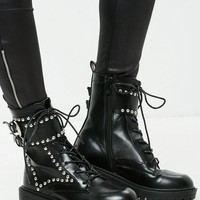 Missguided - Black Studded Ankle Boots