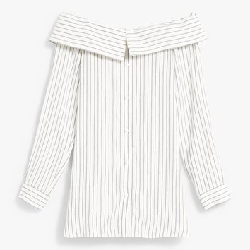 Tibi / Frederic Striped Off Shoulder Top
