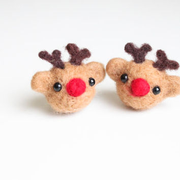 Handmade Needle Felted Wool Mini Deer Decorations. Adorable Felted Animal. Perfect gift for baby shower, wedding, birthday, and children.