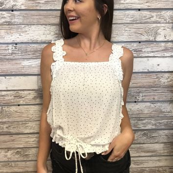 Polka Party Top- White