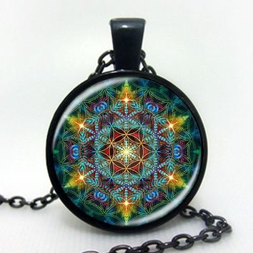Multicolor Flower of life pendant necklace with silver chain & glass dome