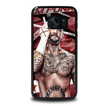 cm punk gloves samsung galaxy s7 edge case cover  number 1