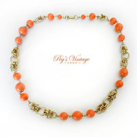 Vintage Coral Bead & Gold Aluminium Link Necklace