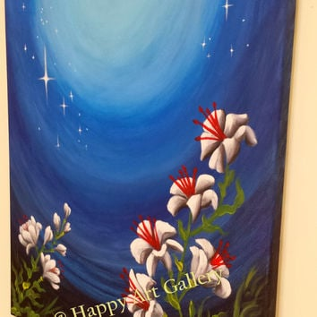 Moonshine Abstract night flowers painting original Decorative Art Wall Decor unique Gift Idea modern wall art home office business gift idea