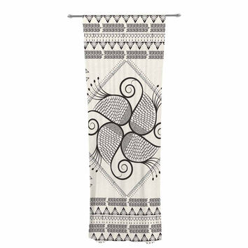 "Famenxt ""Paisley Into The Dream"" Beige Pattern Decorative Sheer Curtain"