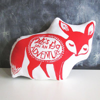 Large Fennec Fox Pillow. Hand Block Printed. Pick Your Colors. 18 inches. Let's go on an adventure.